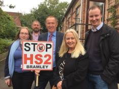 Campaigning to stop HS2 with Kevin Barron MP and fellow councillors, activists and residents 8th October 2016